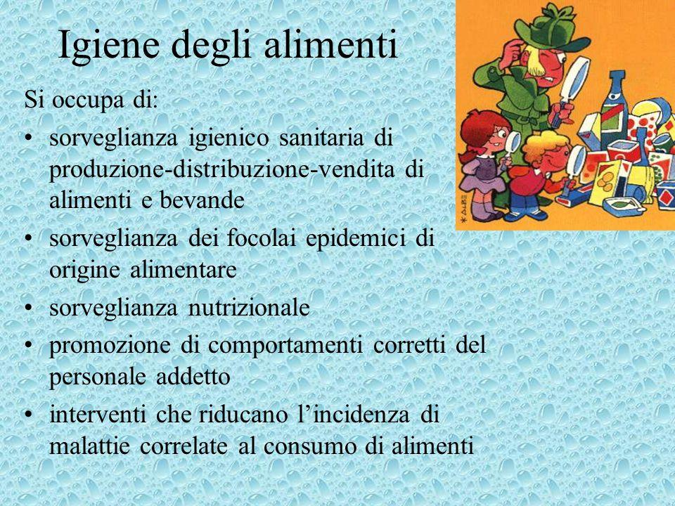 Igiene degli alimenti Si occupa di: sorveglianza igienico sanitaria di produzione-distribuzione-vendita di alimenti e bevande sorveglianza dei focolai