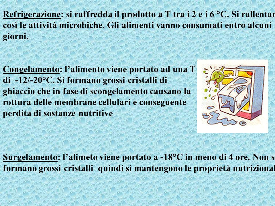 Refrigerazione: si raffredda il prodotto a T tra i 2 e i 6 °C. Si rallentano così le attività microbiche. Gli alimenti vanno consumati entro alcuni gi