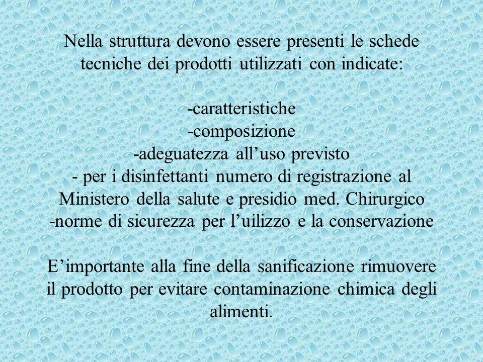 Nella struttura devono essere presenti le schede tecniche dei prodotti utilizzati con indicate: -caratteristiche -composizione -adeguatezza all'uso pr