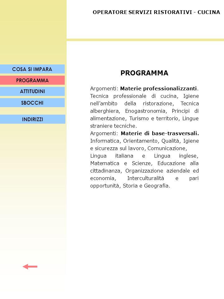 PROGRAMMA Argomenti: Materie professionalizzanti. Tecnica professionale di cucina, Igiene nell'ambito della ristorazione, Tecnica alberghiera, Enogast