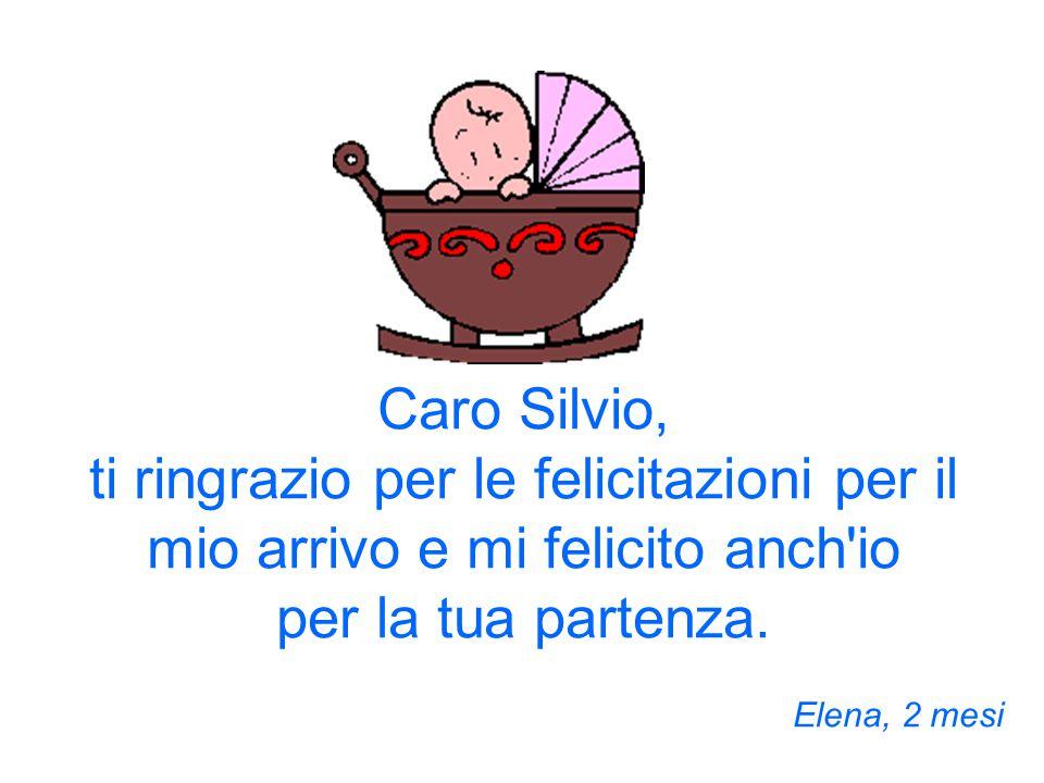Caro Silvio, ti ringrazio per le felicitazioni per il mio arrivo e mi felicito anch io per la tua partenza.