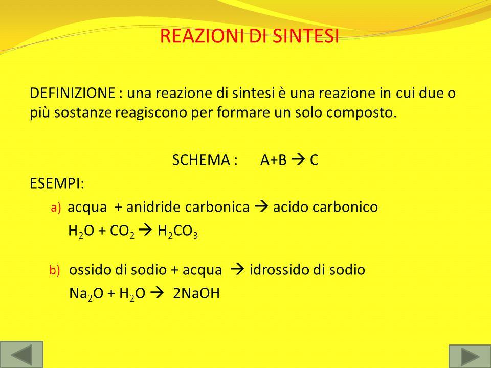 REAZIONI DI DECOMPOSIZIONE DEFINIZIONE: possono essere considerate l'inverso delle reazioni di sintesi, per cui un reagente si decompone in genere per effetto del calore per dare origine a prodotti più semplici SCHEMA : AB  A+B ESEMPI : a) acqua  idrogeno + ossigeno 2H 2 O  2H 2 + O 2 b) carbonato di calcio  ossido di calcio + anidride carbonica CaCO 3  CaO + CO 2