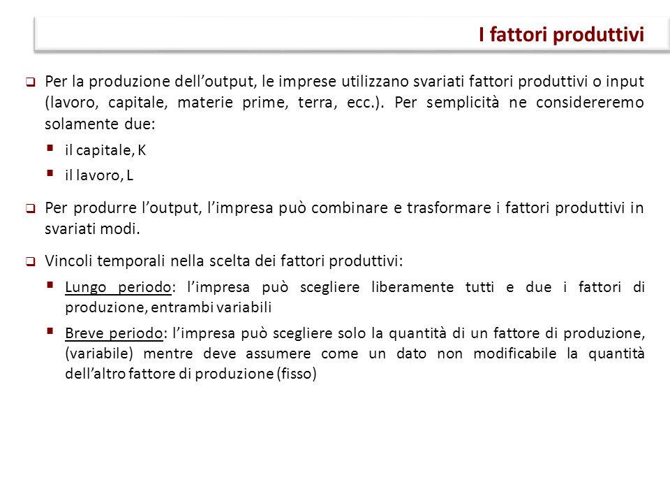  Per la produzione dell'output, le imprese utilizzano svariati fattori produttivi o input (lavoro, capitale, materie prime, terra, ecc.). Per semplic