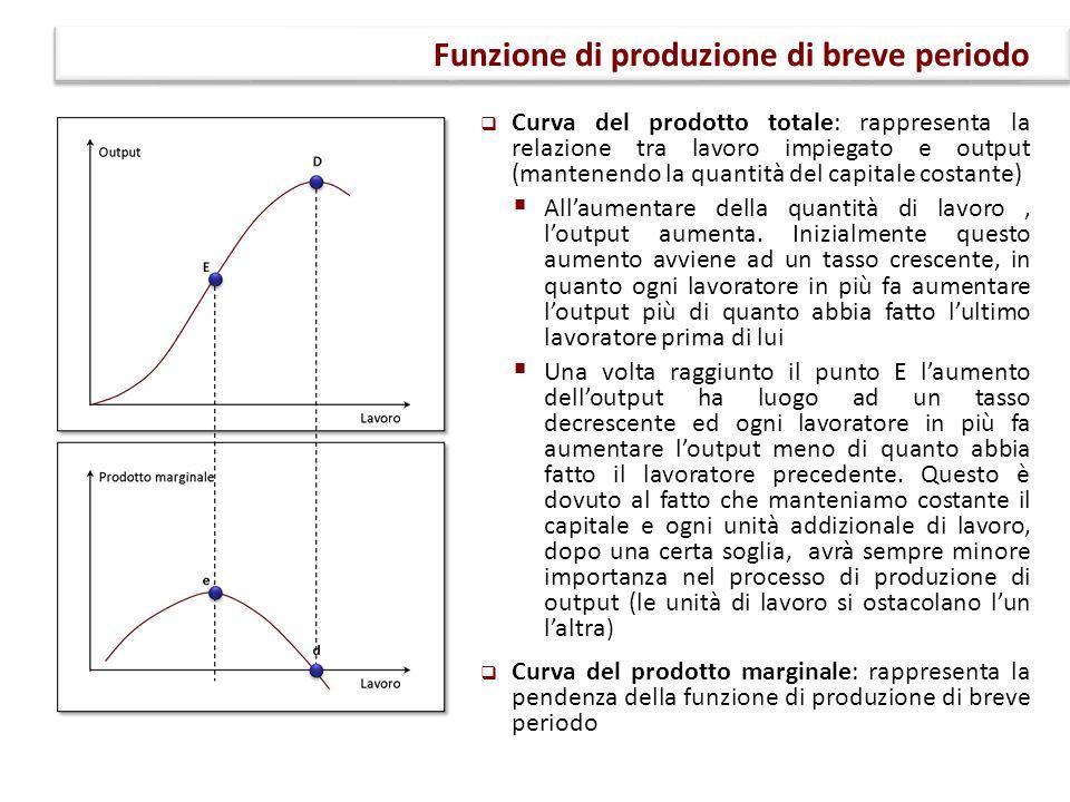  Curva del prodotto totale: rappresenta la relazione tra lavoro impiegato e output (mantenendo la quantità del capitale costante)  All'aumentare del