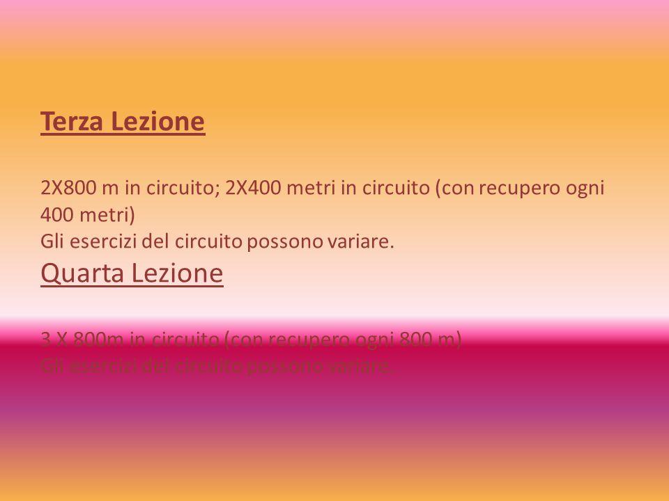 Terza Lezione 2X800 m in circuito; 2X400 metri in circuito (con recupero ogni 400 metri) Gli esercizi del circuito possono variare. Quarta Lezione 3 X