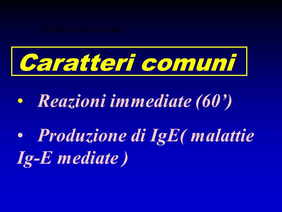 Caratteristiche comuni Caratteri comuni Reazioni immediate (60') Produzione di IgE( malattie Ig-E mediate )
