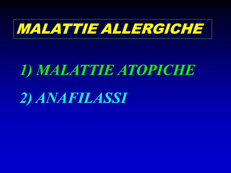 MALATTIE ATOPICHE Manifestazioni conseguenti di solito alla inalazione o ingestione di antigeni innocui (allergeni) comunemente presenti nell'ambiente, che mostrano la tendenza a segregare in certi gruppi familiari e quindi basate su una particolare costituzione genetica ASMA BRONCHIALE ALLERGICO RINITE ALLERGICA CONGIUNTIVITE ALLERGICA DERMATITE ATOPICA