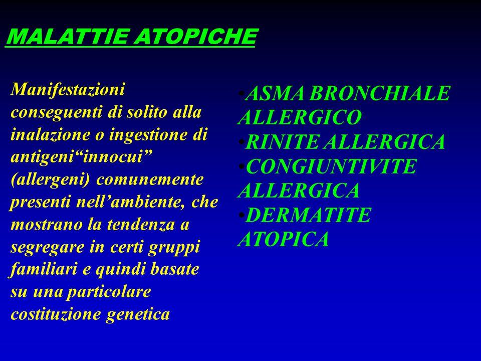 """MALATTIE ATOPICHE Manifestazioni conseguenti di solito alla inalazione o ingestione di antigeni""""innocui"""" (allergeni) comunemente presenti nell'ambient"""