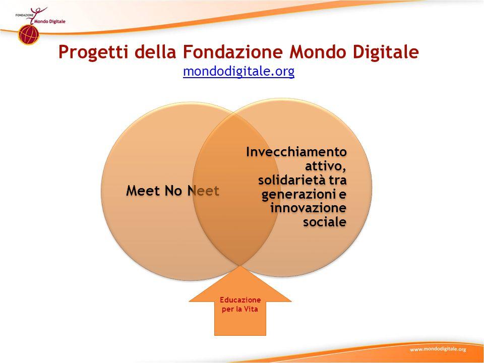 Progetti della Fondazione Mondo Digitale mondodigitale.org mondodigitale.org Meet No Neet Invecchiamento attivo, solidarietà tra generazioni e innovazione sociale Educazione per la Vita