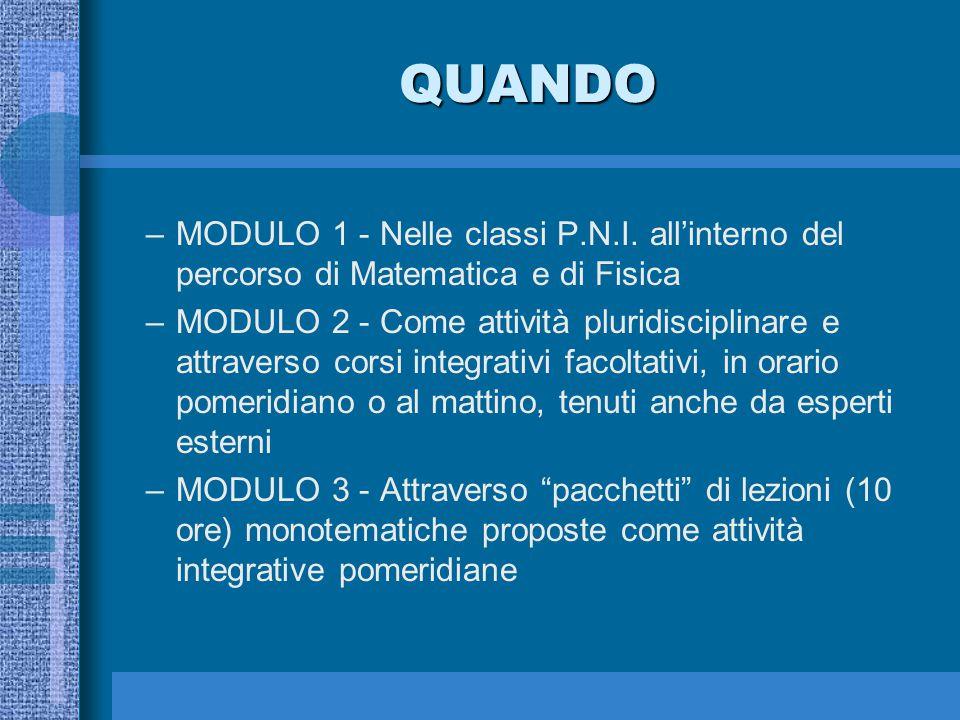 QUANDO –MODULO 1 - Nelle classi P.N.I. all'interno del percorso di Matematica e di Fisica –MODULO 2 - Come attività pluridisciplinare e attraverso cor