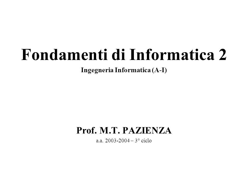 Fondamenti di Informatica 2 Ingegneria Informatica (A-I) Prof. M.T. PAZIENZA a.a. 2003-2004 – 3° ciclo