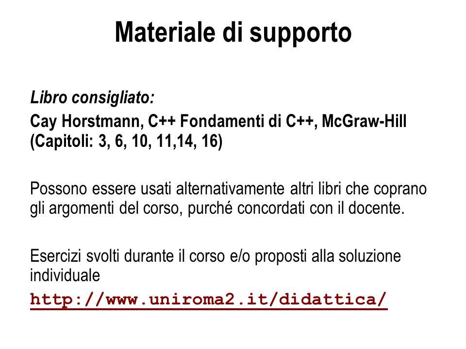 Materiale di supporto Libro consigliato: Cay Horstmann, C++ Fondamenti di C++, McGraw-Hill (Capitoli: 3, 6, 10, 11,14, 16) Possono essere usati altern