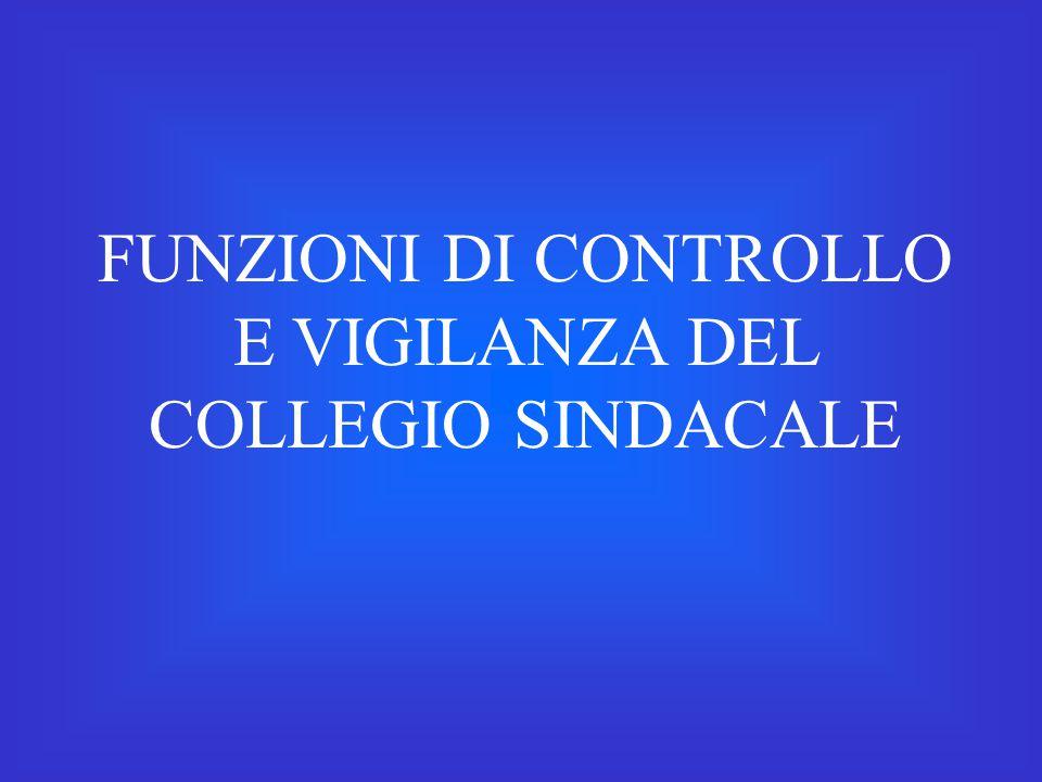 FUNZIONI DI CONTROLLO E VIGILANZA DEL COLLEGIO SINDACALE