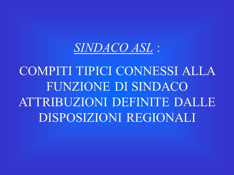 SINDACO ASL : COMPITI TIPICI CONNESSI ALLA FUNZIONE DI SINDACO ATTRIBUZIONI DEFINITE DALLE DISPOSIZIONI REGIONALI