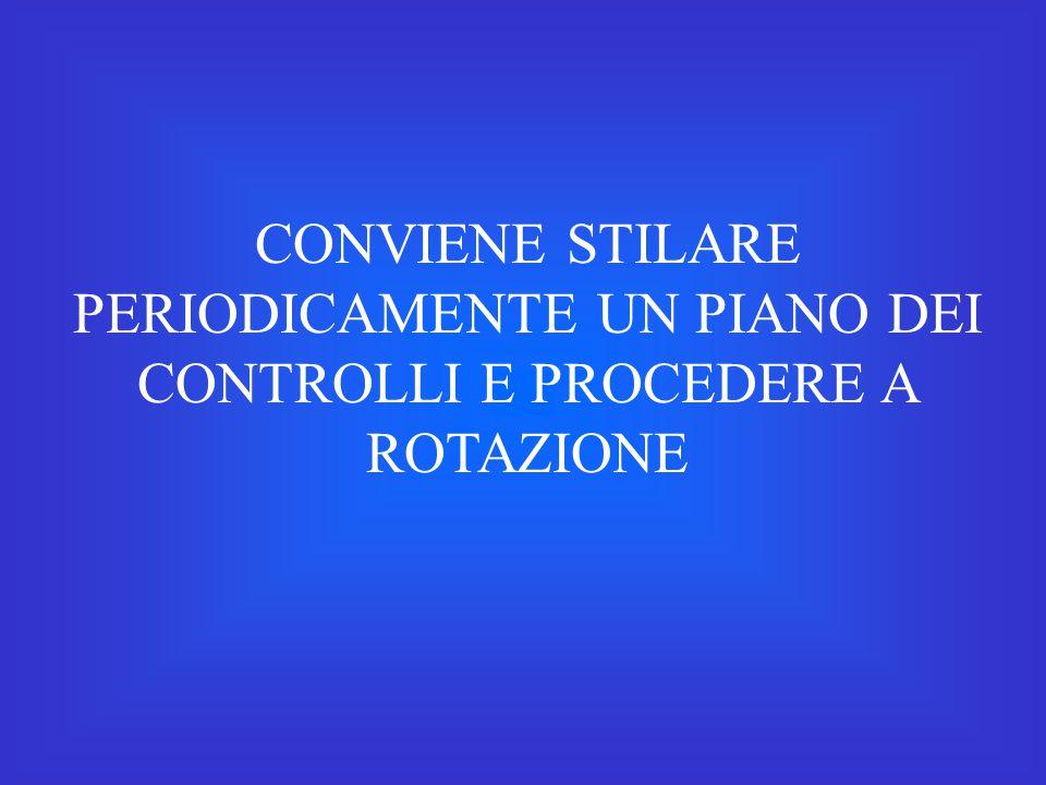 CONVIENE STILARE PERIODICAMENTE UN PIANO DEI CONTROLLI E PROCEDERE A ROTAZIONE