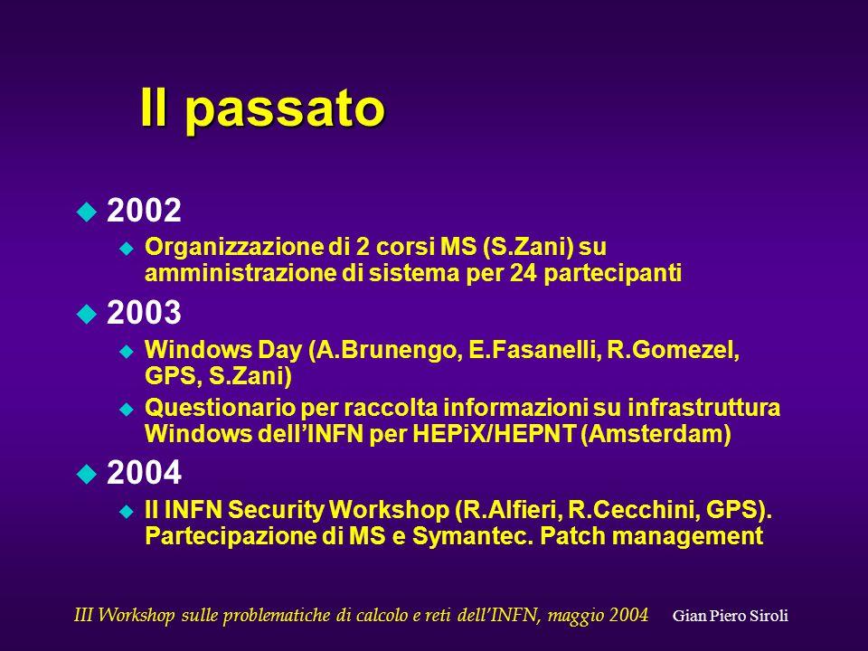 III Workshop sulle problematiche di calcolo e reti dell'INFN, maggio 2004 Gian Piero Siroli Il passato u 2002 u Organizzazione di 2 corsi MS (S.Zani) su amministrazione di sistema per 24 partecipanti u 2003 u Windows Day (A.Brunengo, E.Fasanelli, R.Gomezel, GPS, S.Zani) u Questionario per raccolta informazioni su infrastruttura Windows dell'INFN per HEPiX/HEPNT (Amsterdam) u 2004 u II INFN Security Workshop (R.Alfieri, R.Cecchini, GPS).