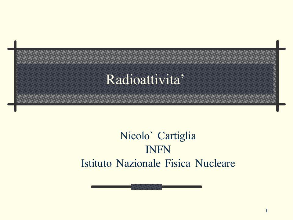 1 Radioattivita' Nicolo` Cartiglia INFN Istituto Nazionale Fisica Nucleare