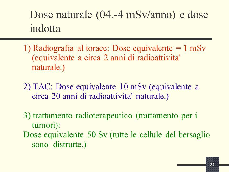 27 Dose naturale (04.-4 mSv/anno) e dose indotta 1) Radiografia al torace: Dose equivalente = 1 mSv (equivalente a circa 2 anni di radioattivita' natu