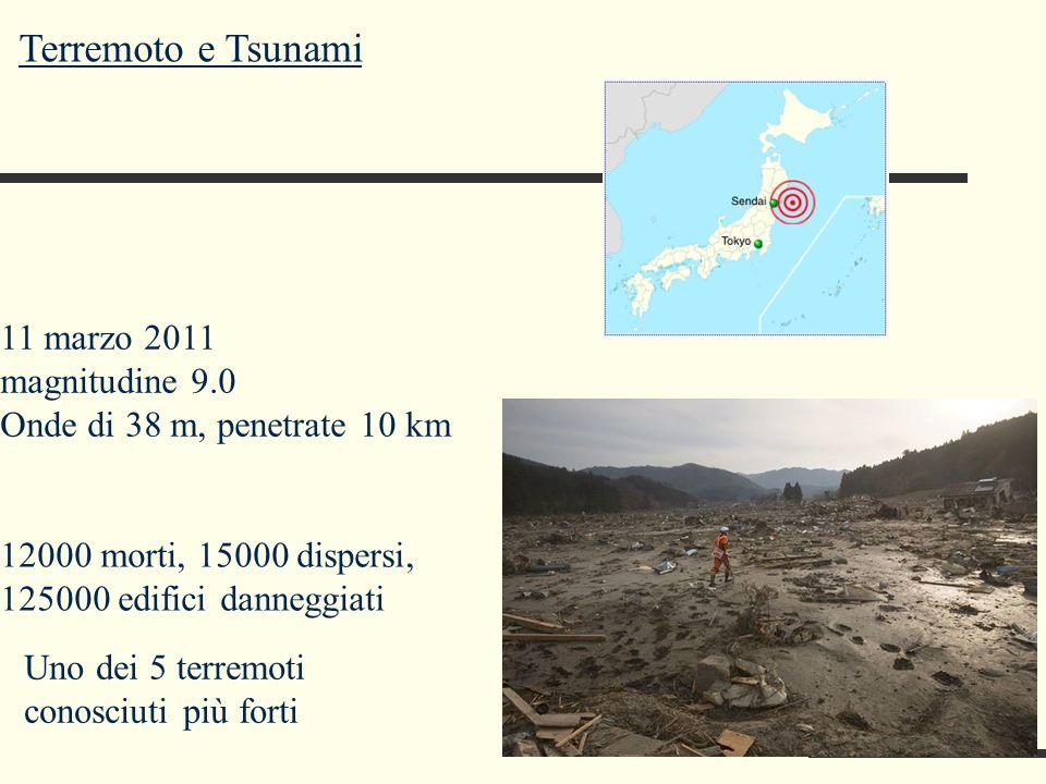 Terremoto e Tsunami 11 marzo 2011 magnitudine 9.0 Onde di 38 m, penetrate 10 km 12000 morti, 15000 dispersi, 125000 edifici danneggiati Uno dei 5 terr