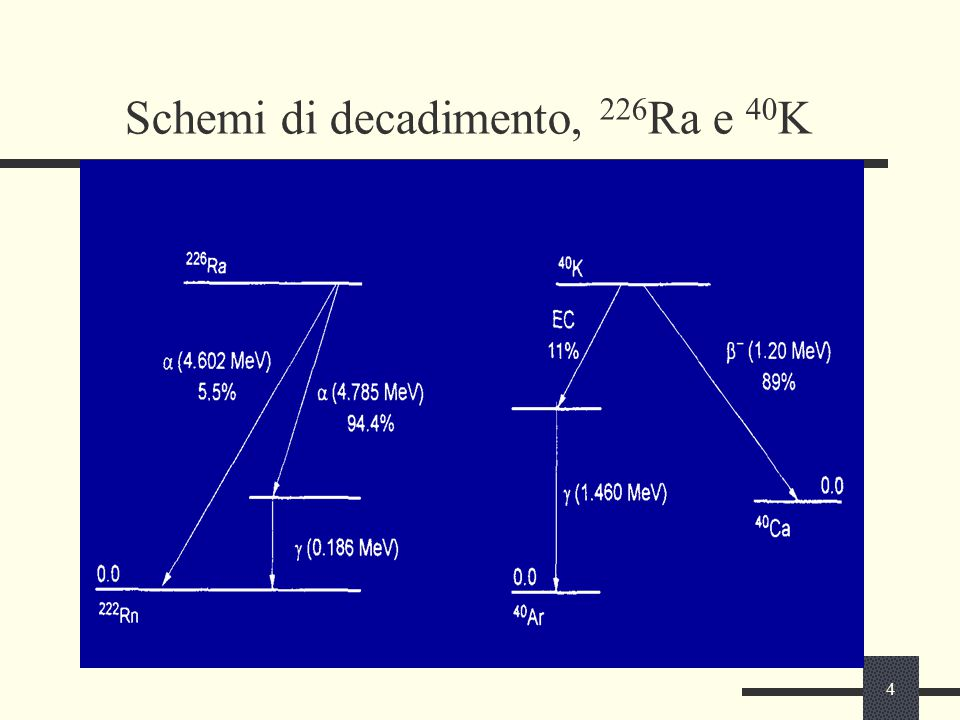 4 Schemi di decadimento, 226 Ra e 40 K
