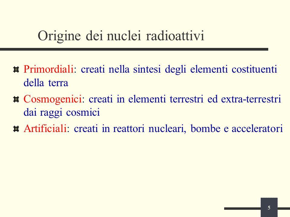 5 Origine dei nuclei radioattivi Primordiali: creati nella sintesi degli elementi costituenti della terra Cosmogenici: creati in elementi terrestri ed