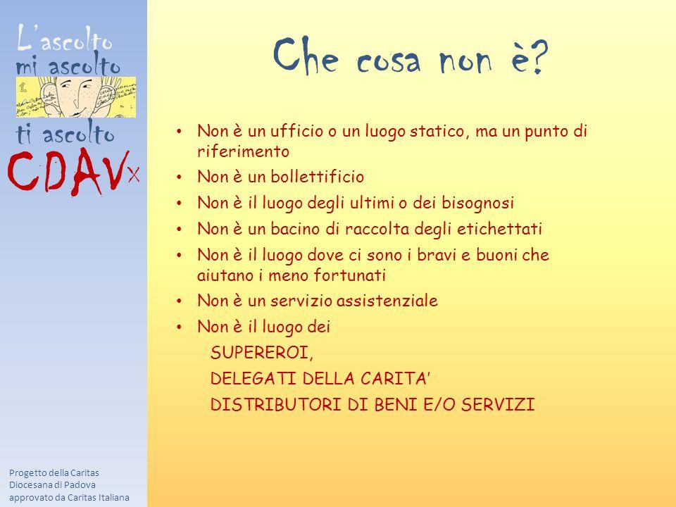 L'ascolto mi ascolto ti ascolto CDAV X Progetto della Caritas Diocesana di Padova approvato da Caritas Italiana Che cosa non è? Non è un ufficio o un