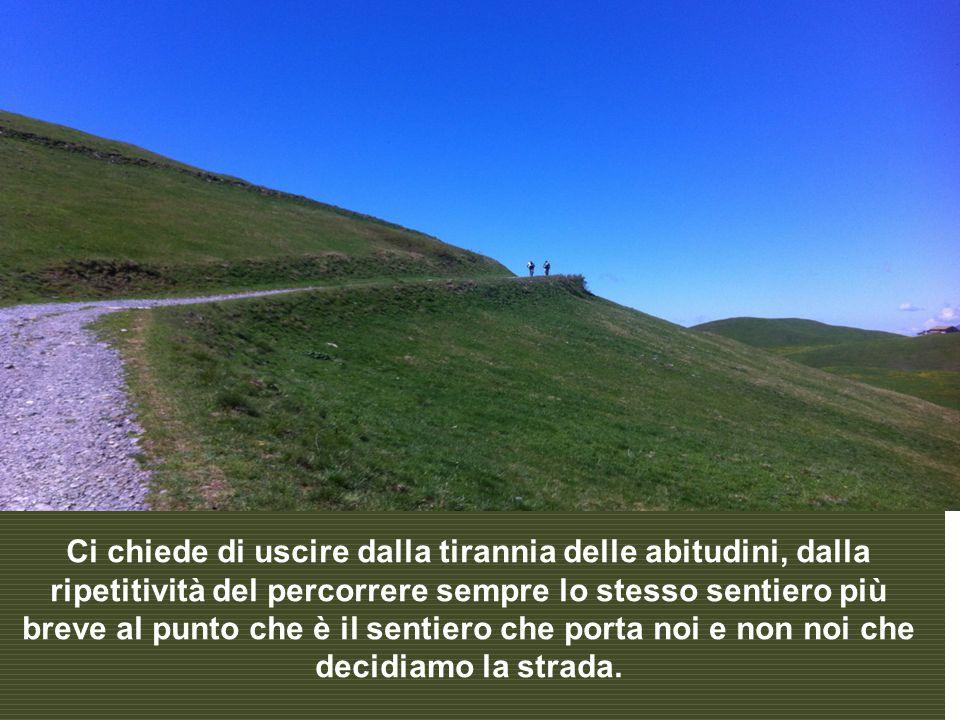 Ci chiede di uscire dalla tirannia delle abitudini, dalla ripetitività del percorrere sempre lo stesso sentiero più breve al punto che è il sentiero