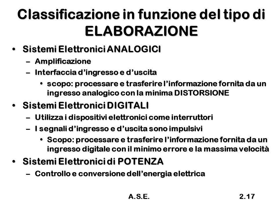 A.S.E.2.17 Classificazione in funzione del tipo di ELABORAZIONE Sistemi Elettronici ANALOGICISistemi Elettronici ANALOGICI –Amplificazione –Interfacci