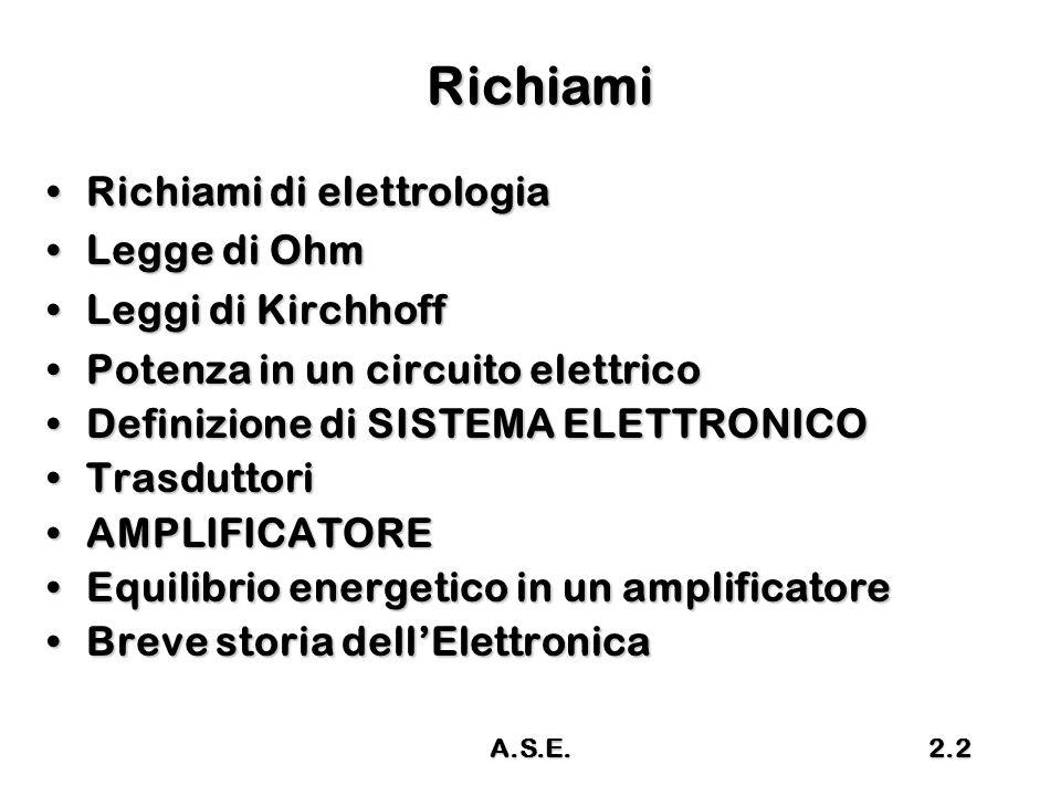 A.S.E.2.2 Richiami Richiami di elettrologiaRichiami di elettrologia Legge di OhmLegge di Ohm Leggi di KirchhoffLeggi di Kirchhoff Potenza in un circui