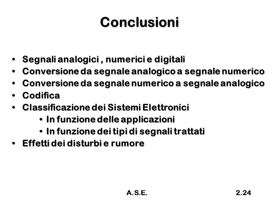 Conclusioni Segnali analogici, numerici e digitaliSegnali analogici, numerici e digitali Conversione da segnale analogico a segnale numericoConversion