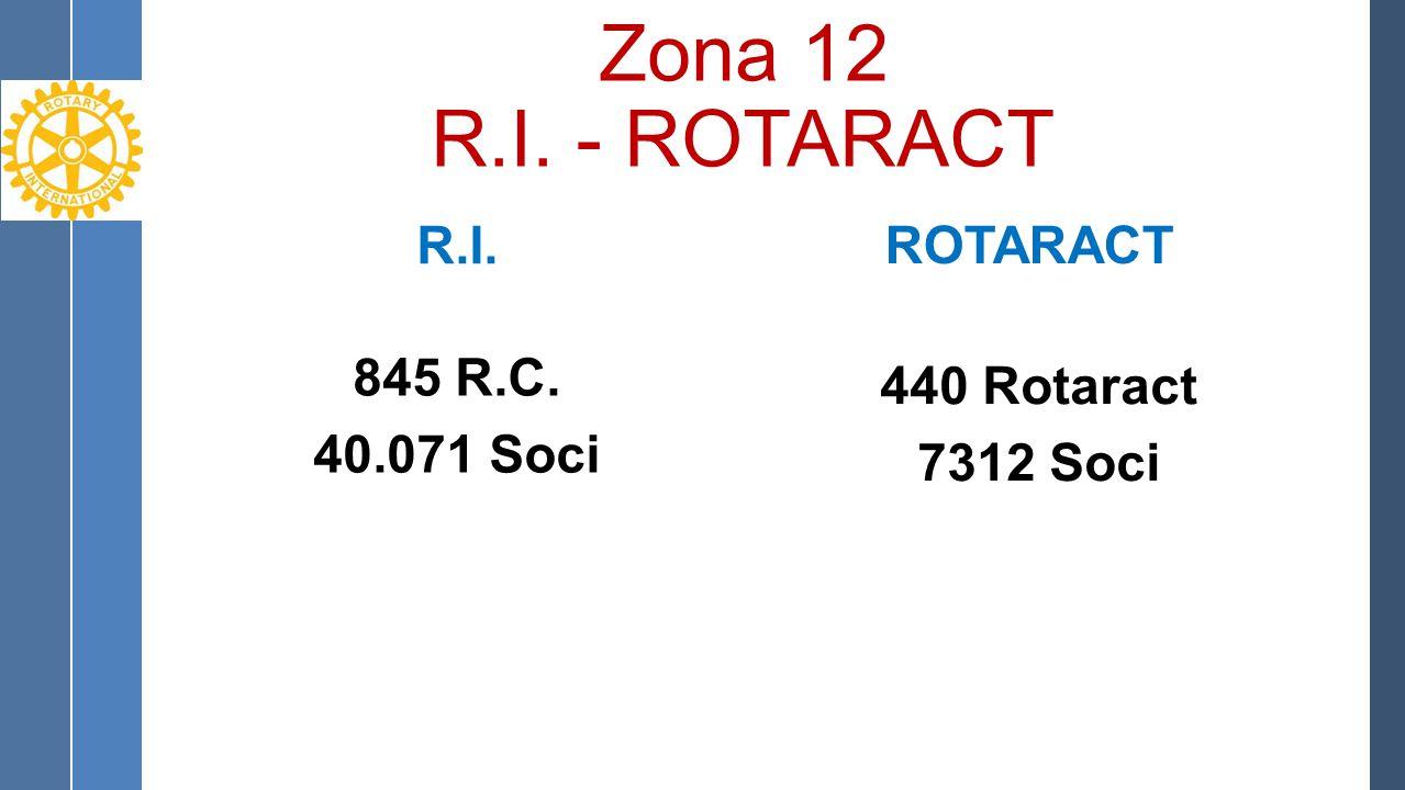 Zona 12 R.I. - ROTARACT R.I. 845 R.C. 40.071 Soci ROTARACT 440 Rotaract 7312 Soci