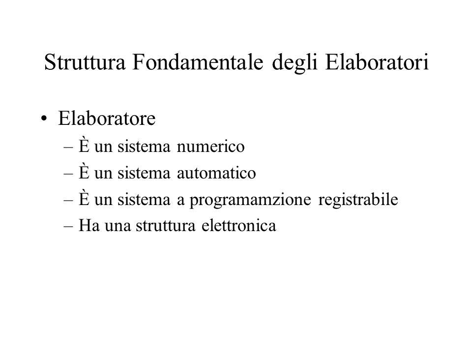 Struttura Fondamentale degli Elaboratori Elaboratore –È un sistema numerico –È un sistema automatico –È un sistema a programamzione registrabile –Ha una struttura elettronica