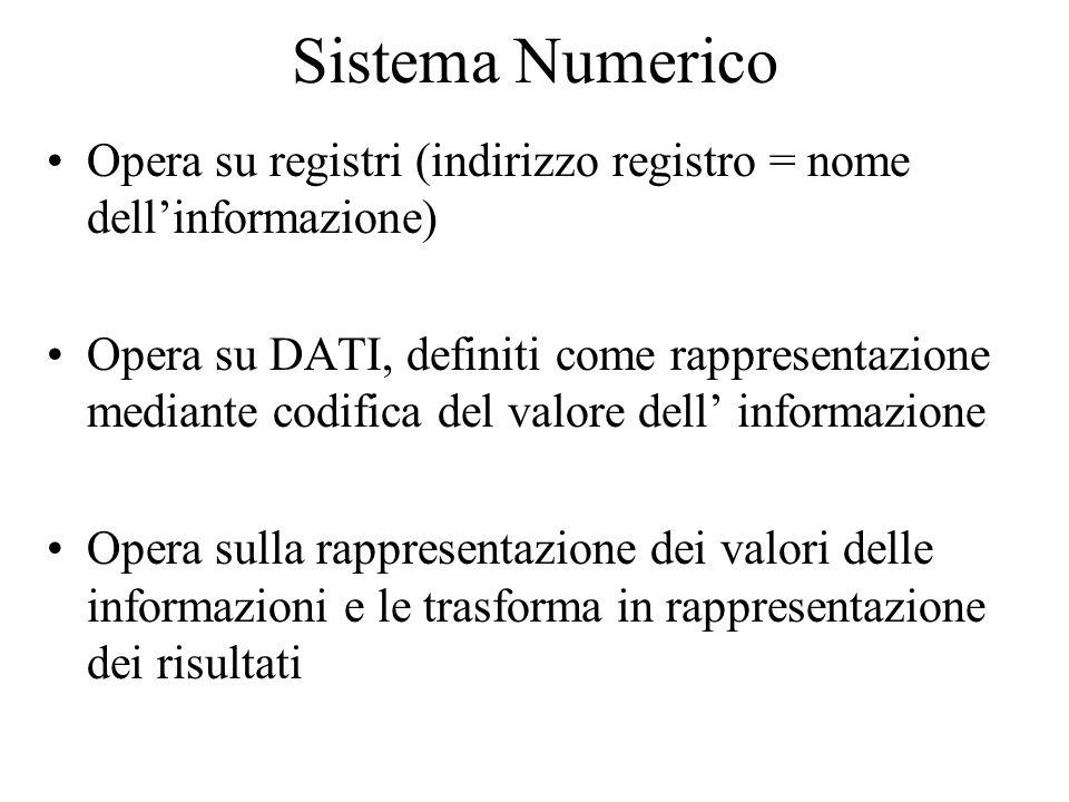 Sistema Numerico Opera su registri (indirizzo registro = nome dell'informazione) Opera su DATI, definiti come rappresentazione mediante codifica del valore dell' informazione Opera sulla rappresentazione dei valori delle informazioni e le trasforma in rappresentazione dei risultati