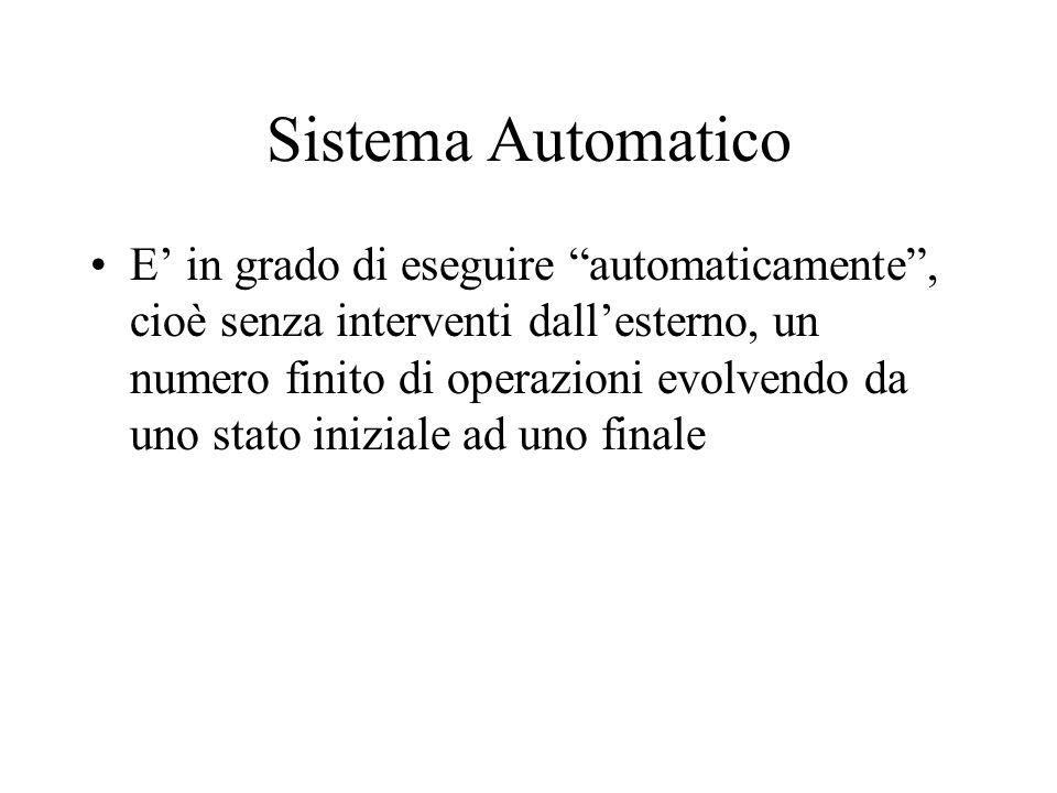 Sistema Automatico E' in grado di eseguire automaticamente , cioè senza interventi dall'esterno, un numero finito di operazioni evolvendo da uno stato iniziale ad uno finale