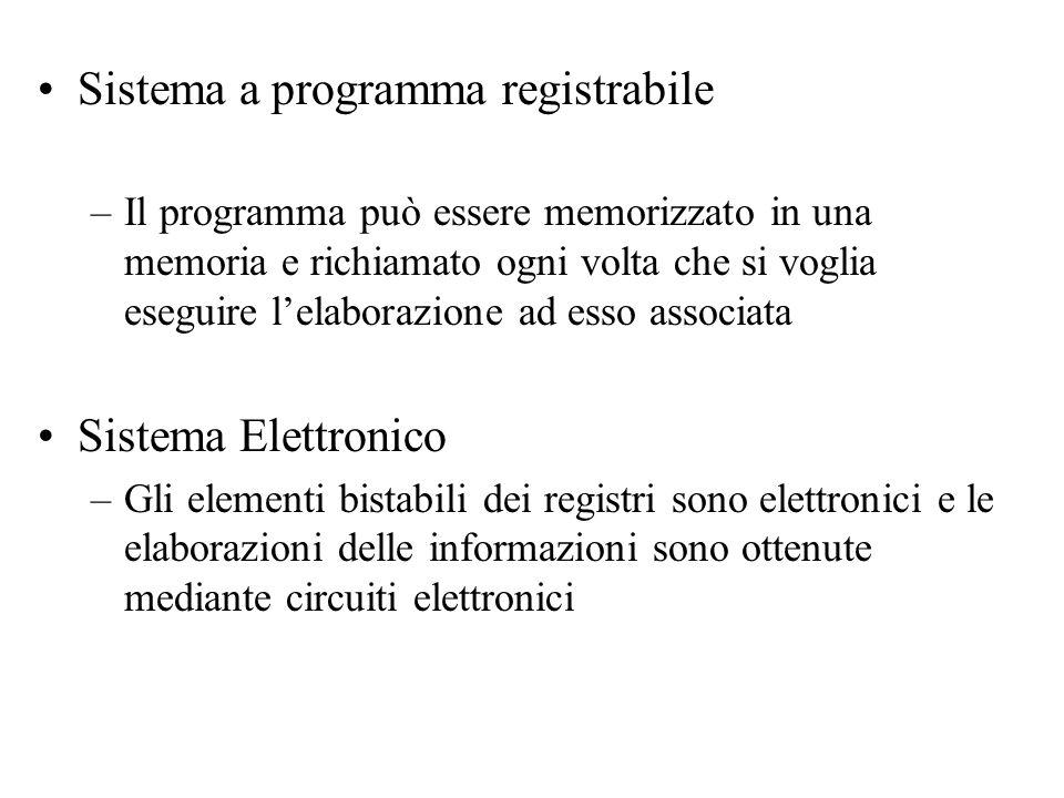 Sistema a programma registrabile –Il programma può essere memorizzato in una memoria e richiamato ogni volta che si voglia eseguire l'elaborazione ad esso associata Sistema Elettronico –Gli elementi bistabili dei registri sono elettronici e le elaborazioni delle informazioni sono ottenute mediante circuiti elettronici