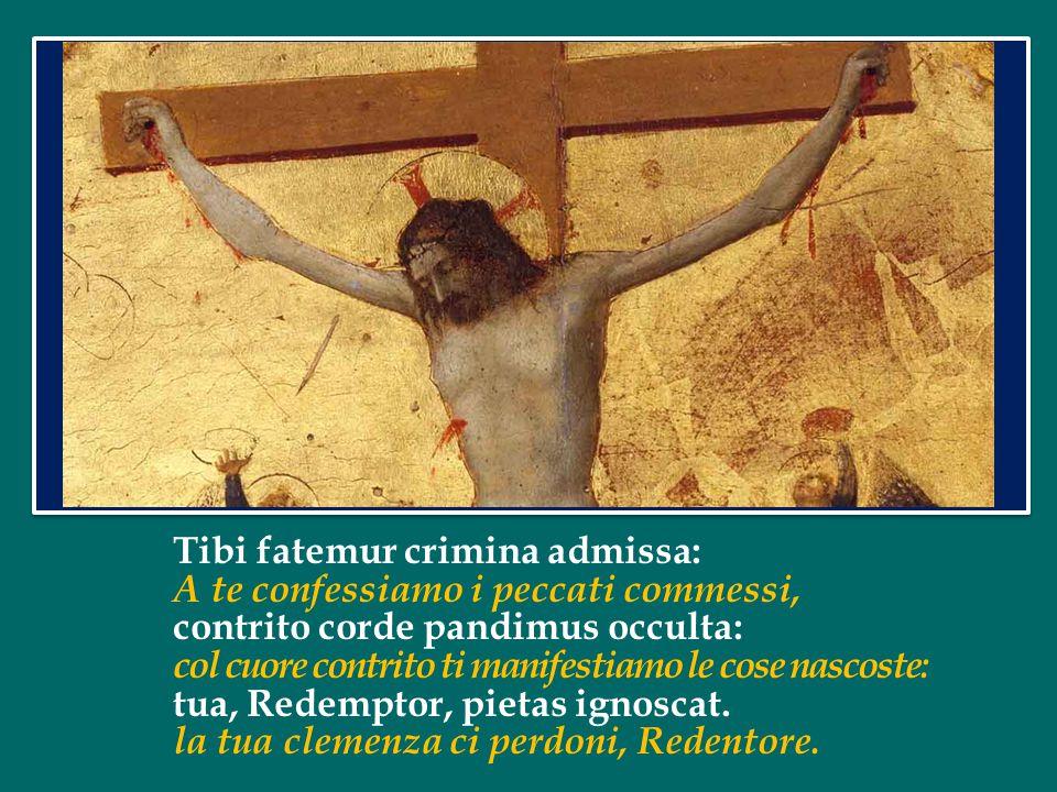 Tibi fatemur crimina admissa: A te confessiamo i peccati commessi, contrito corde pandimus occulta: col cuore contrito ti manifestiamo le cose nascoste: tua, Redemptor, pietas ignoscat.