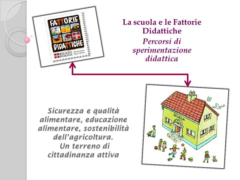 La scuola e le Fattorie Didattiche Percorsi di sperimentazione didattica Sicurezza e qualità alimentare, educazione alimentare, sostenibilità dell'agricoltura.