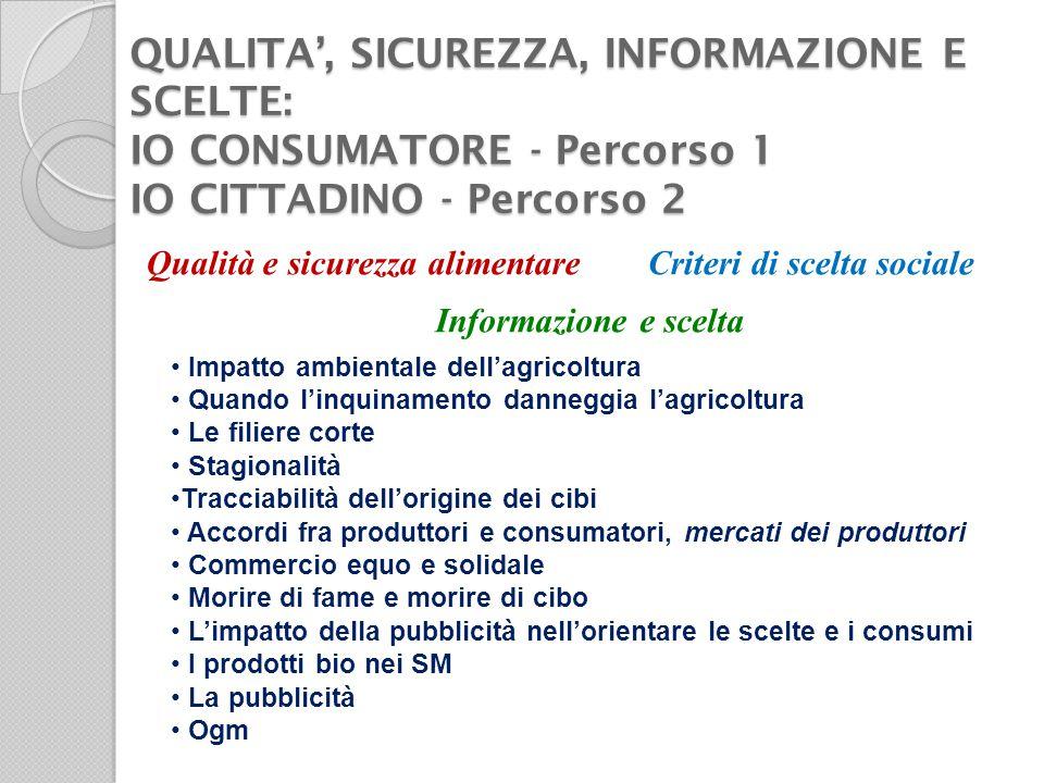QUALITA', SICUREZZA, INFORMAZIONE E SCELTE: IO CONSUMATORE - Percorso 1 IO CITTADINO - Percorso 2 Qualità e sicurezza alimentare Informazione e scelta