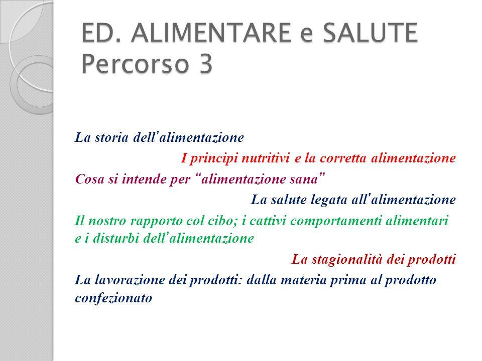"""ED. ALIMENTARE e SALUTE Percorso 3 La storia dell ' alimentazione I principi nutritivi e la corretta alimentazione Cosa si intende per """" alimentazione"""