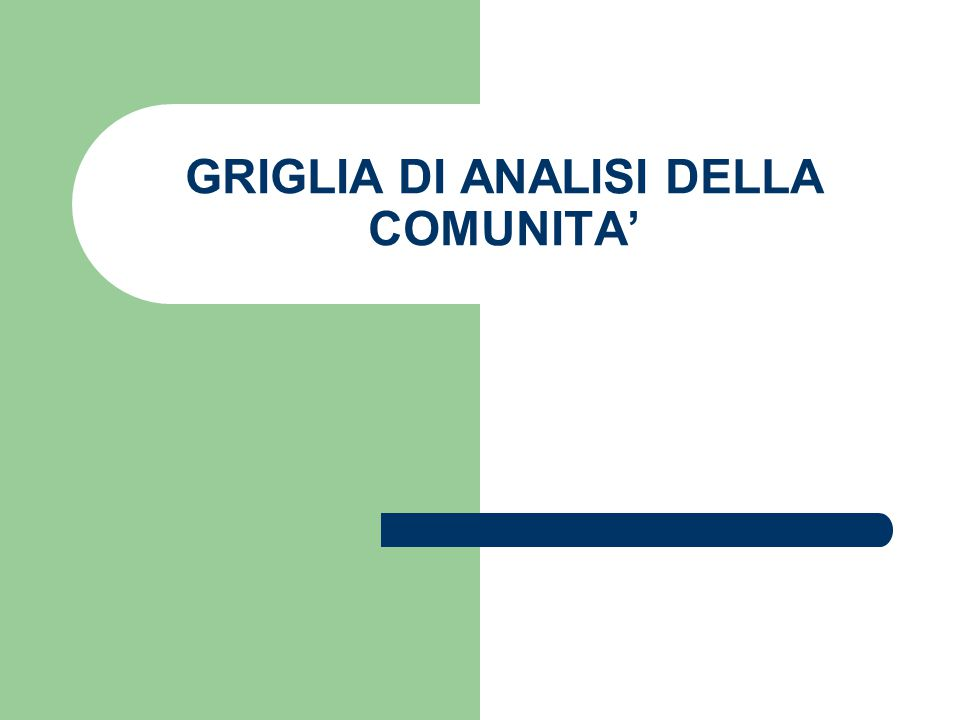 GRIGLIA DI ANALISI DELLA COMUNITA'