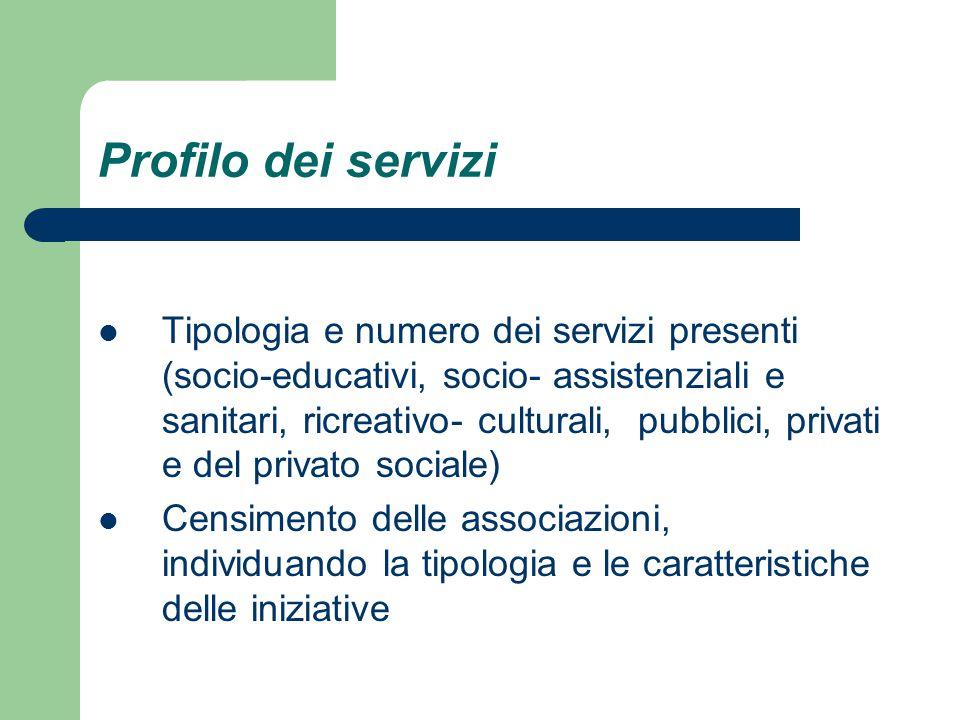 Profilo dei servizi Tipologia e numero dei servizi presenti (socio-educativi, socio- assistenziali e sanitari, ricreativo- culturali, pubblici, privati e del privato sociale) Censimento delle associazioni, individuando la tipologia e le caratteristiche delle iniziative