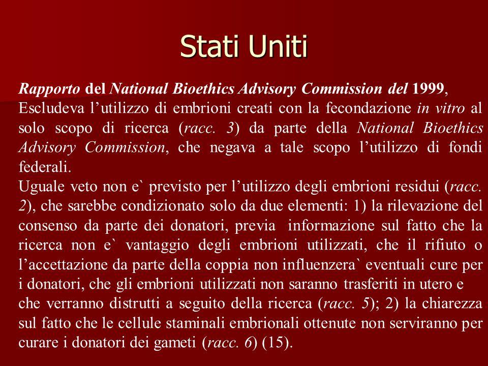 Stati Uniti Rapporto del National Bioethics Advisory Commission del 1999, Escludeva l'utilizzo di embrioni creati con la fecondazione in vitro al solo