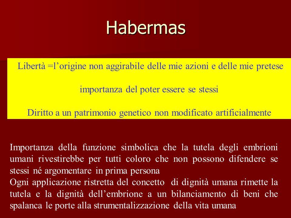 Habermas Libertà =l'origine non aggirabile delle mie azioni e delle mie pretese importanza del poter essere se stessi Diritto a un patrimonio genetico