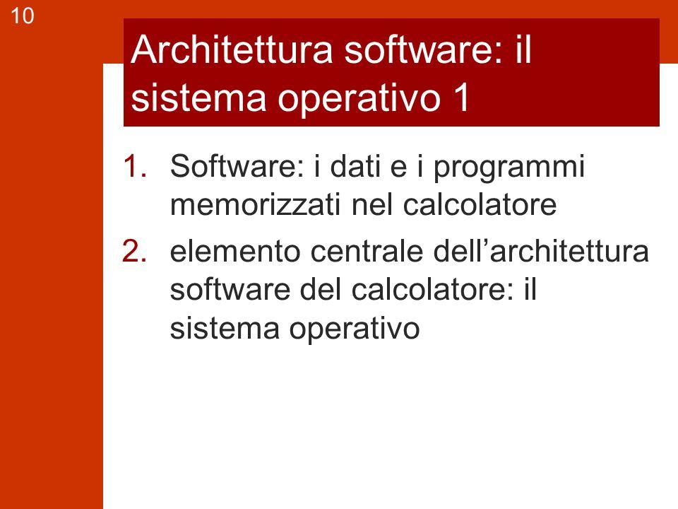 10 Architettura software: il sistema operativo 1 1.Software: i dati e i programmi memorizzati nel calcolatore 2.elemento centrale dell'architettura software del calcolatore: il sistema operativo