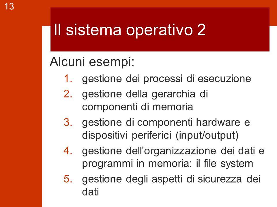 13 Il sistema operativo 2 Alcuni esempi: 1.gestione dei processi di esecuzione 2.gestione della gerarchia di componenti di memoria 3.gestione di componenti hardware e dispositivi periferici (input/output) 4.gestione dell'organizzazione dei dati e programmi in memoria: il file system 5.gestione degli aspetti di sicurezza dei dati