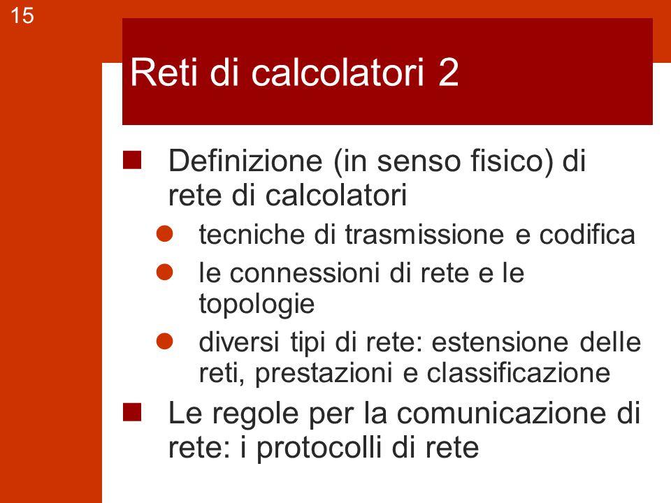 15 Reti di calcolatori 2 Definizione (in senso fisico) di rete di calcolatori tecniche di trasmissione e codifica le connessioni di rete e le topologi