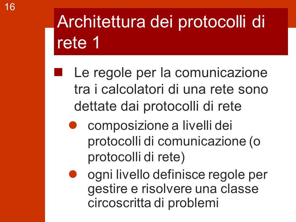 16 Architettura dei protocolli di rete 1 Le regole per la comunicazione tra i calcolatori di una rete sono dettate dai protocolli di rete composizione a livelli dei protocolli di comunicazione (o protocolli di rete) ogni livello definisce regole per gestire e risolvere una classe circoscritta di problemi