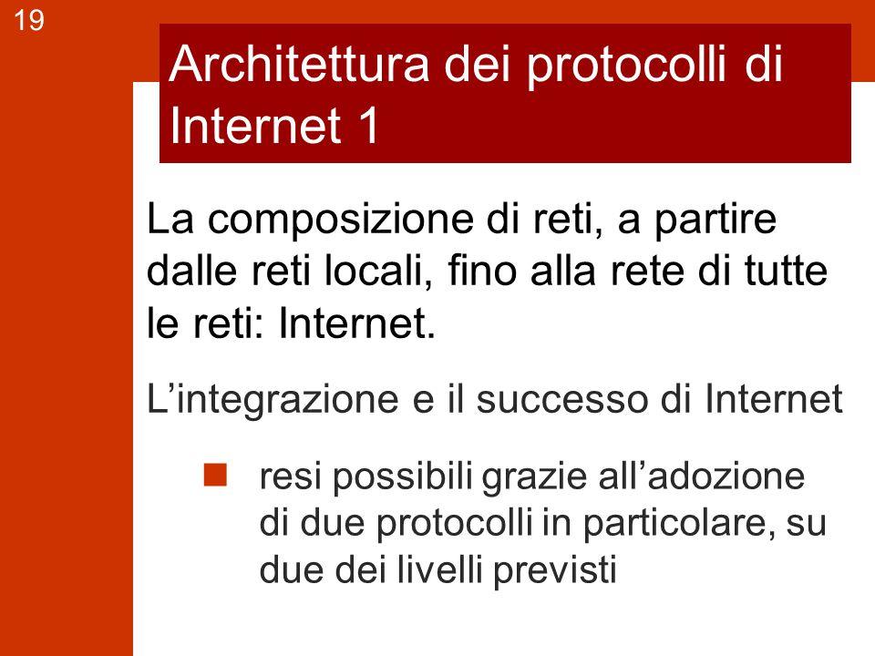 19 Architettura dei protocolli di Internet 1 resi possibili grazie all'adozione di due protocolli in particolare, su due dei livelli previsti La composizione di reti, a partire dalle reti locali, fino alla rete di tutte le reti: Internet.