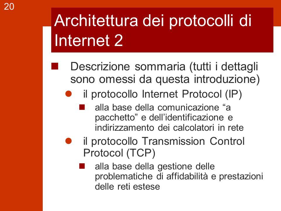 20 Architettura dei protocolli di Internet 2 Descrizione sommaria (tutti i dettagli sono omessi da questa introduzione) il protocollo Internet Protoco