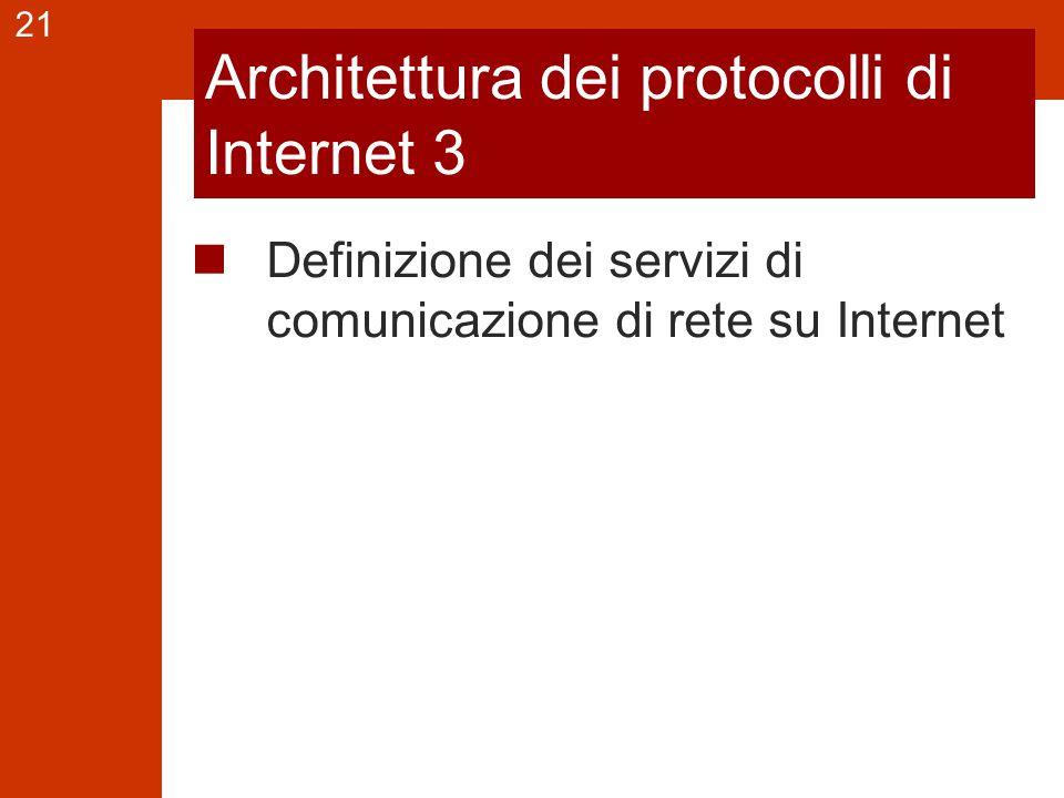 21 Architettura dei protocolli di Internet 3 Definizione dei servizi di comunicazione di rete su Internet